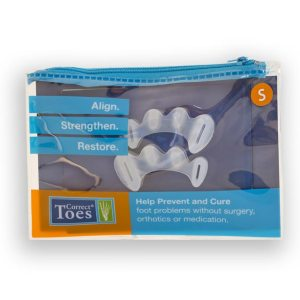 Correct Toes silicone toe spacers; Size Small, fits most Women Size US 5-7, EU 35-37, and Children US Size 1+, EU 32-37.