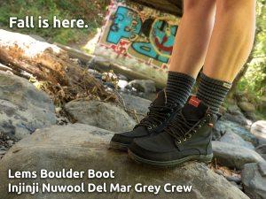 Lems Boulder Boot Black with Injinji Nuwool Del Mar Crew Grey