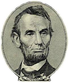 Abraham Lincoln old five dollar bill