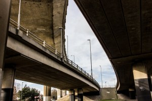 Professional Photography Concrete Roundabout In South Woodford North East London With Three Overpasses Pillars And Ramp