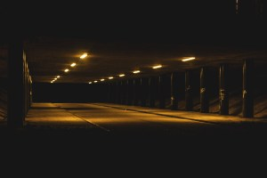 Professional Photography Motorway Underpass At Night With Shadows And Dark Pillars In Redbridge East London
