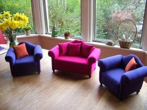 miniature upholstered silk furniture