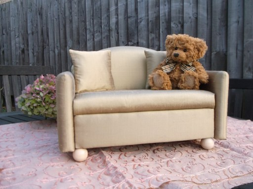 soft silk upholstered miniature doll settee or sofa with golden dupioni silk cushiions