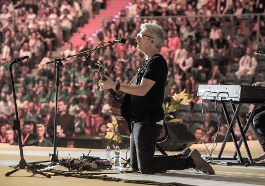 Matt Maher leading worship during Adoration at the Mercy Night