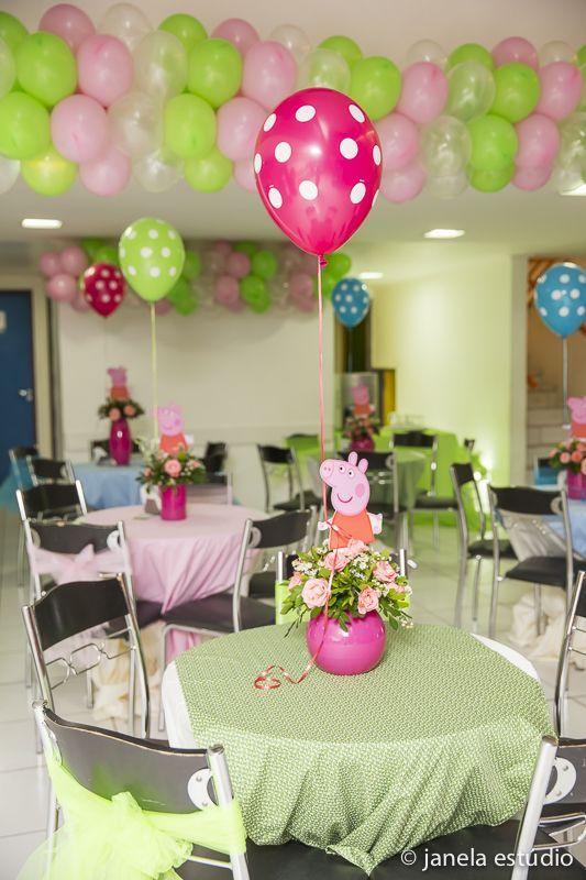 O restante da decoração da festa infantil Peppa Pig
