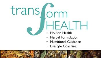 Teal Transform Health logo and four service areas: Holistic Health, Herbal Formulation, Nutritional Guidance, and Lifestyle Coaching. Photos of three herbal mixes at the bottom of the photo.