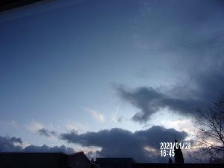 Luchtruim zonder chemtrails boven Driebergen januari 2020