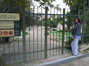 The Agora behind locked gates, keeping banking hours.