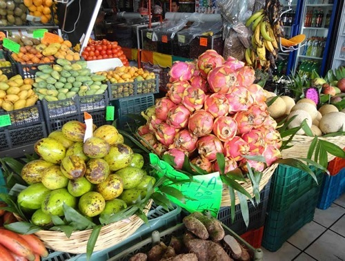 Pitahaya (Dragon Fruit) at market in Mexico