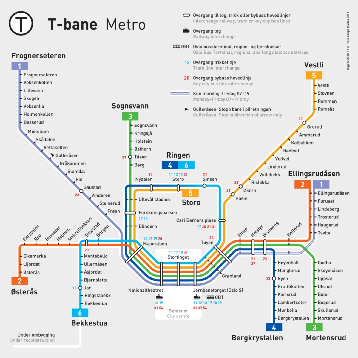 Transit Maps Official Map Oslo T Bane Metro System 2011