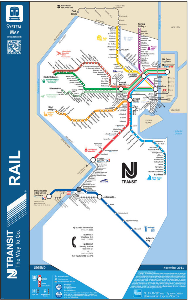 Transit Maps: Official Map: New Jersey Transit Rail System, 2011
