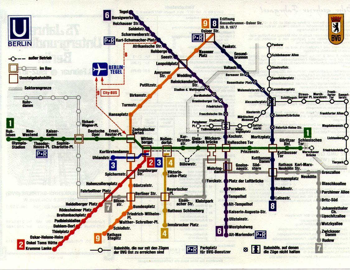 Transit Maps Historical Map West Berlin U Bahn Map 1977