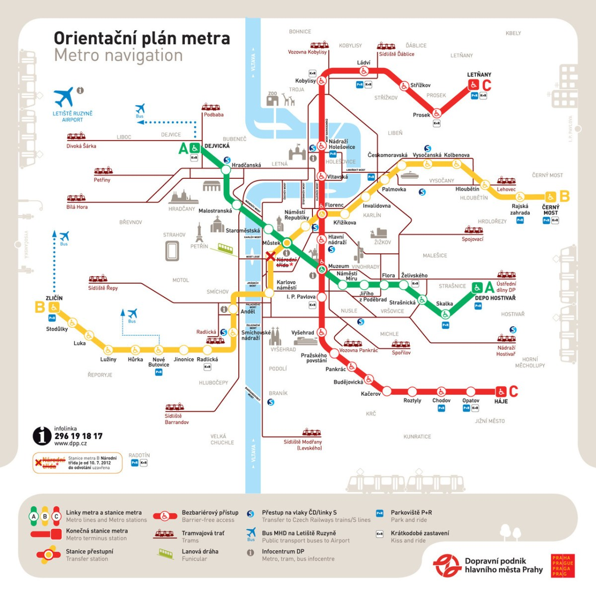 tram map in prague Transit Maps Official Map Prague Metro Orientation Map 2012 tram map in prague