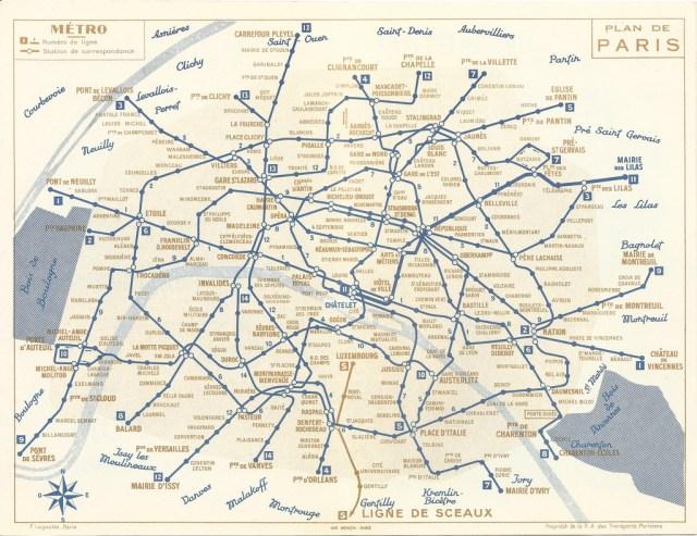 Map Subway Paris.Transit Maps Historical Map Paris Metro Map 1956