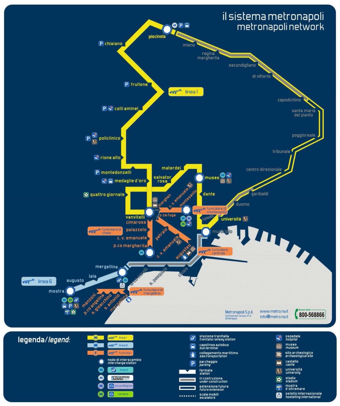 Naples Subway Map.Transit Maps Official Map Metropolitana Di Napoli 2012 1 Of 2