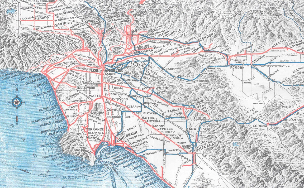 Pacific Electric Railway Map Reprint 1933