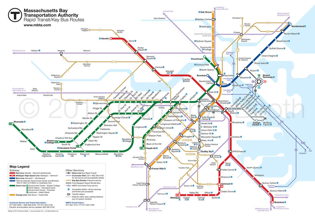 1950s Mbta Elevated Subway Map.Transit Maps