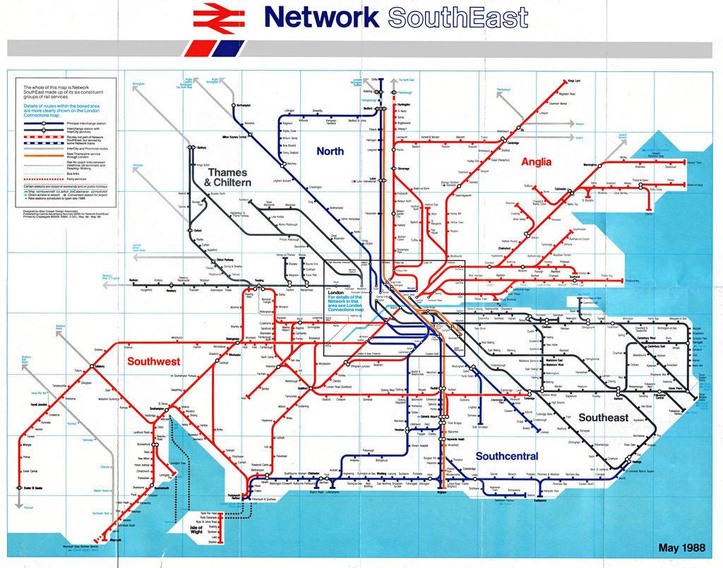 London South East Rail Map.Transit Maps Historical Map British Rail Network Southeast