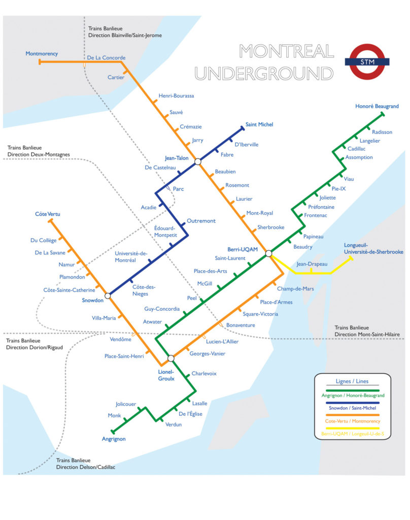 Subway Map Montreal.Transit Maps Unofficial Map Montreal Metro In The Style Of The