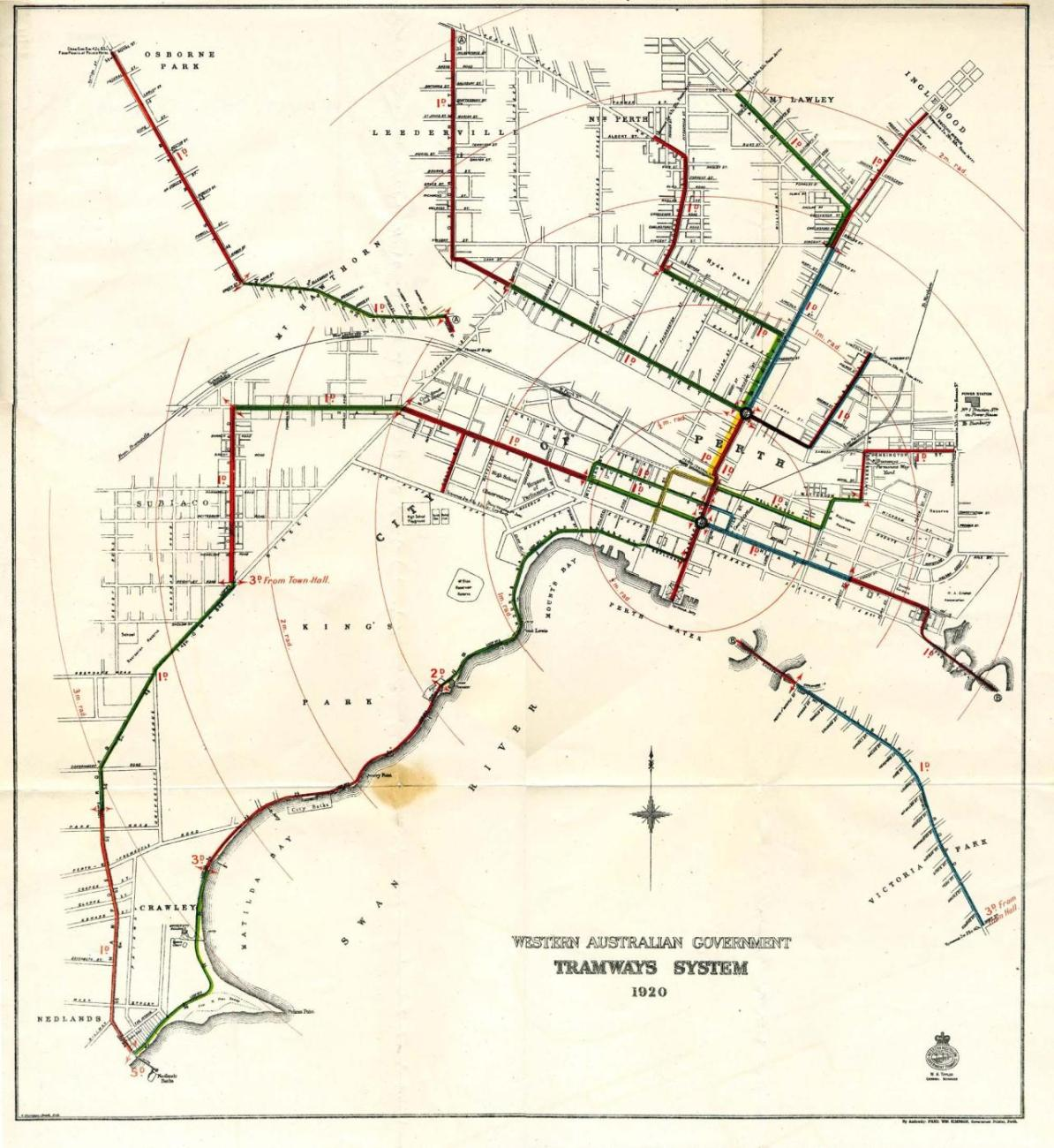 Perth In Australia Map.Transit Maps Historical Map Tramways System Of Perth Australia 1920