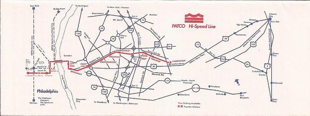 Philadelphia Subway Map Patco.Transit Maps Historical Map Patco Hi Speed Line Philadelphia And