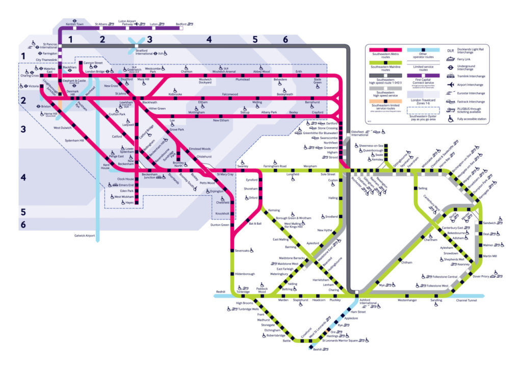 Map Of England Rail.Transit Maps Official Map Southeastern Rail Network England
