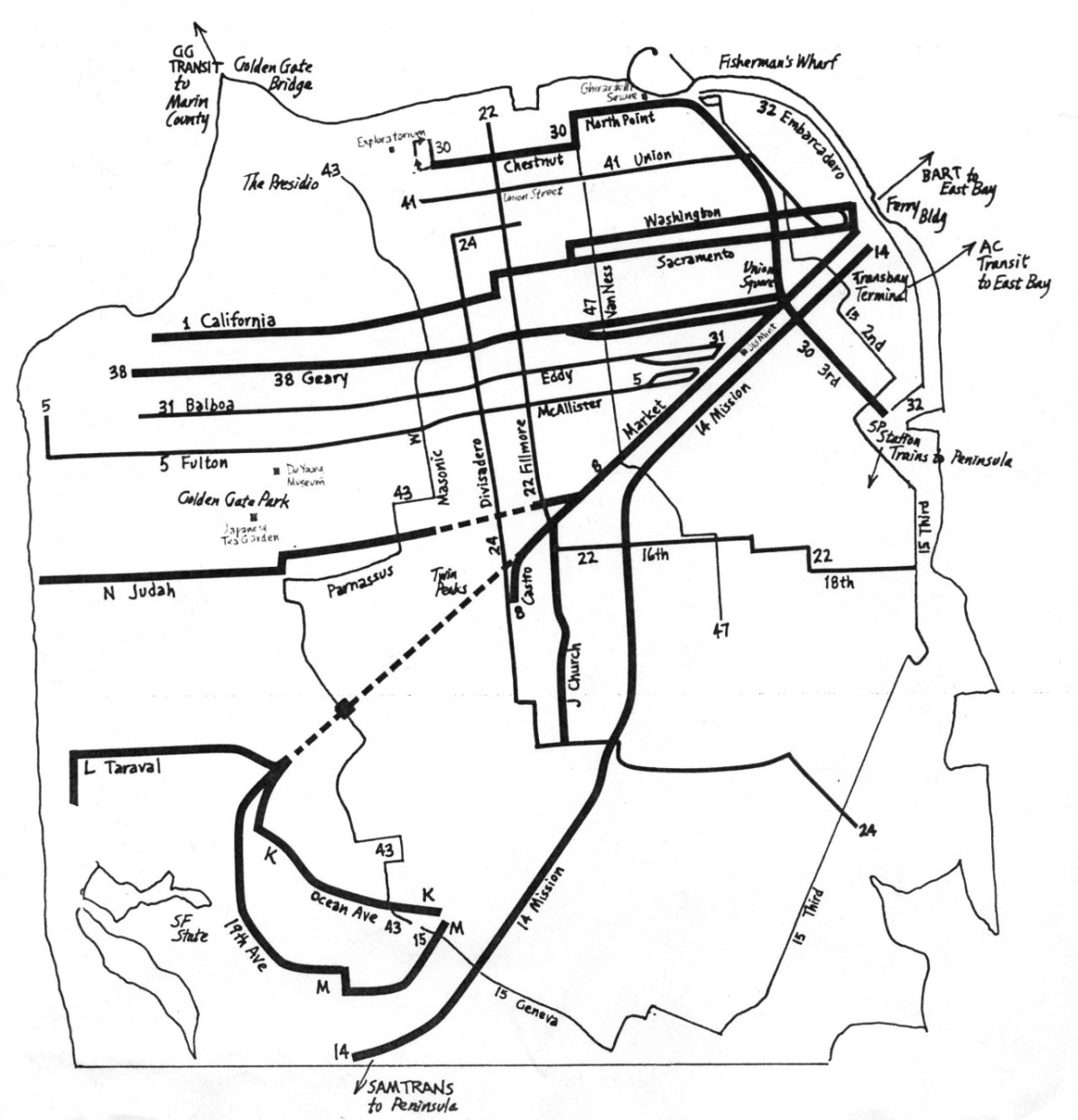 Transit Maps: Historical/Unofficial Map: SF Muni Frequency Map, 1982 ...