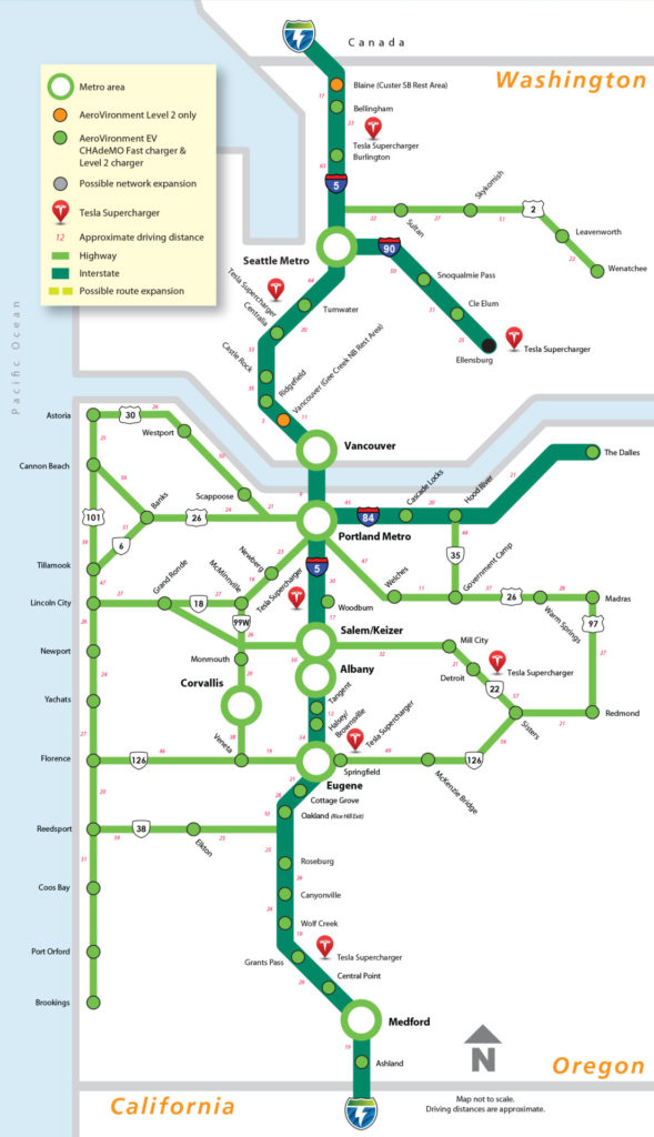 Transit Maps Submission West Coast Electric Highway Map