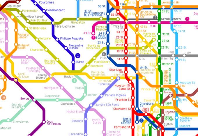 World Metro Subway Map.Transit Maps Fantasy Map The World Metro Map By Artcodedata
