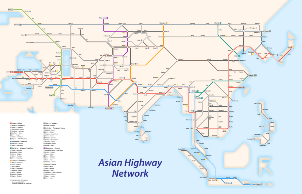 How To Read A Subway Map.Transit Maps Submission Asian Highway Network As A Subway Map By