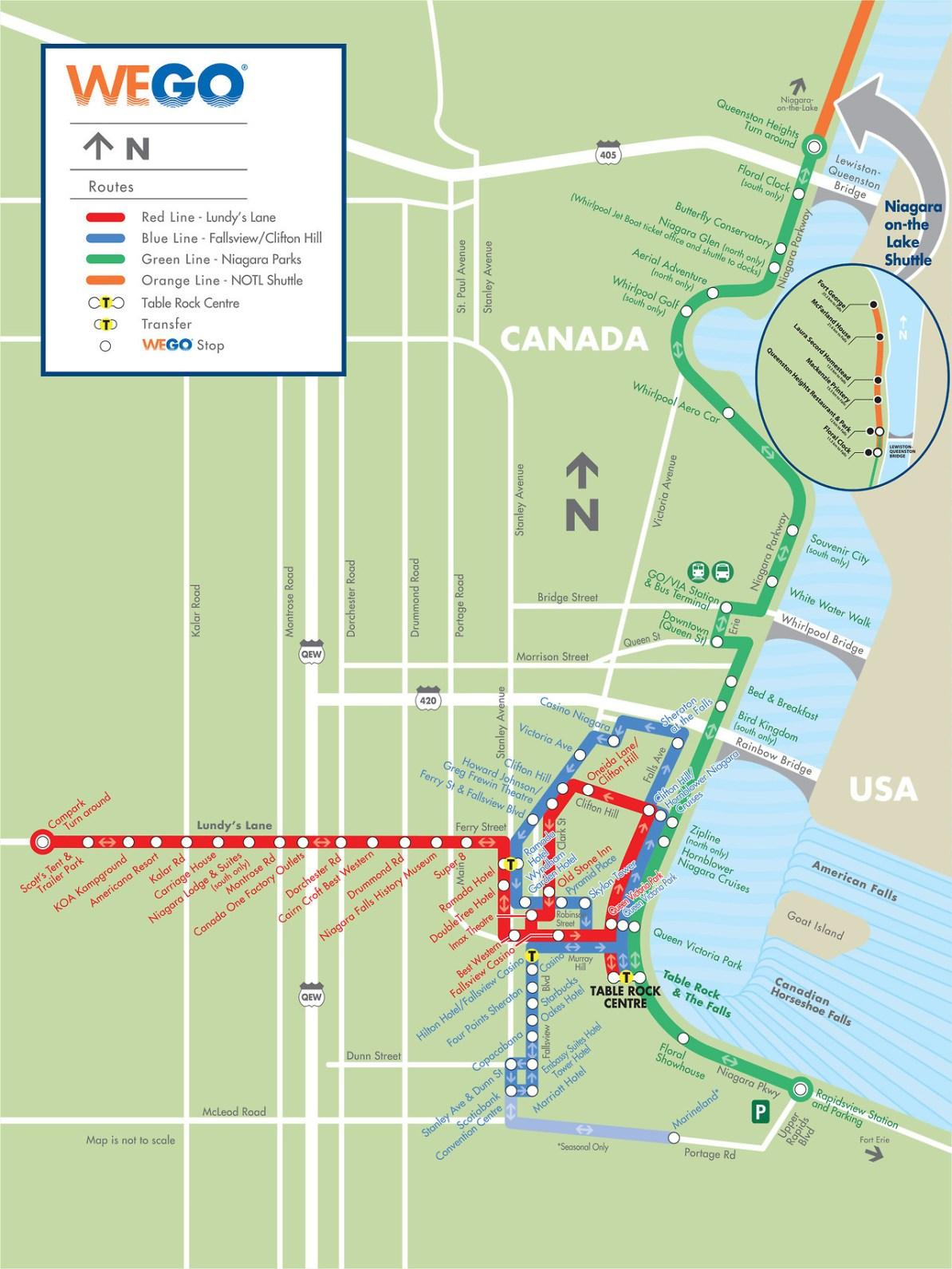 Niagara Falls Transit Map Transit Maps: Submission – Official Map: WEGO Bus Map, Niagara