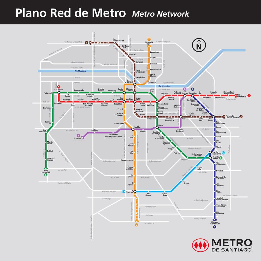 Santiago Subway Map.Transit Maps Submission Official Map Metro De Santiago Chile 2017