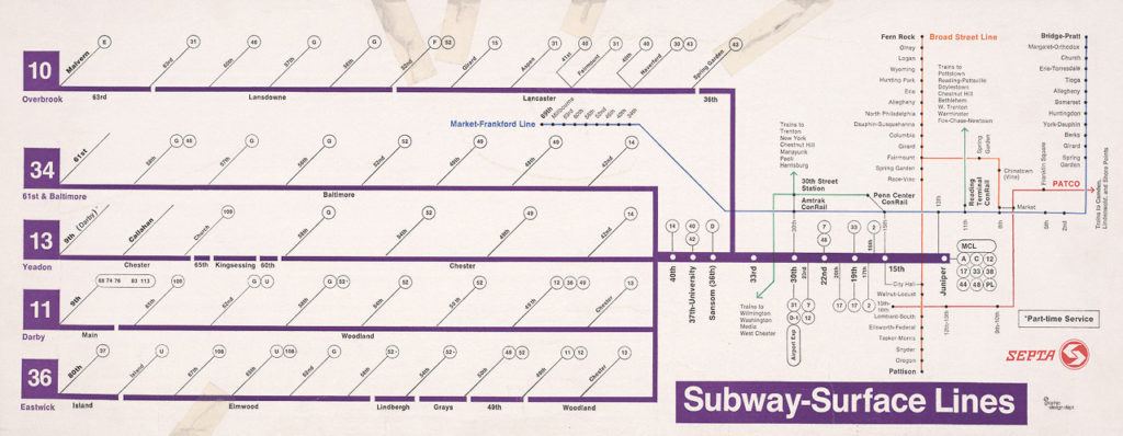 Philadelphia Subway Map Patco.Transit Maps Historical Map Subway Surface Lines Philadelphia
