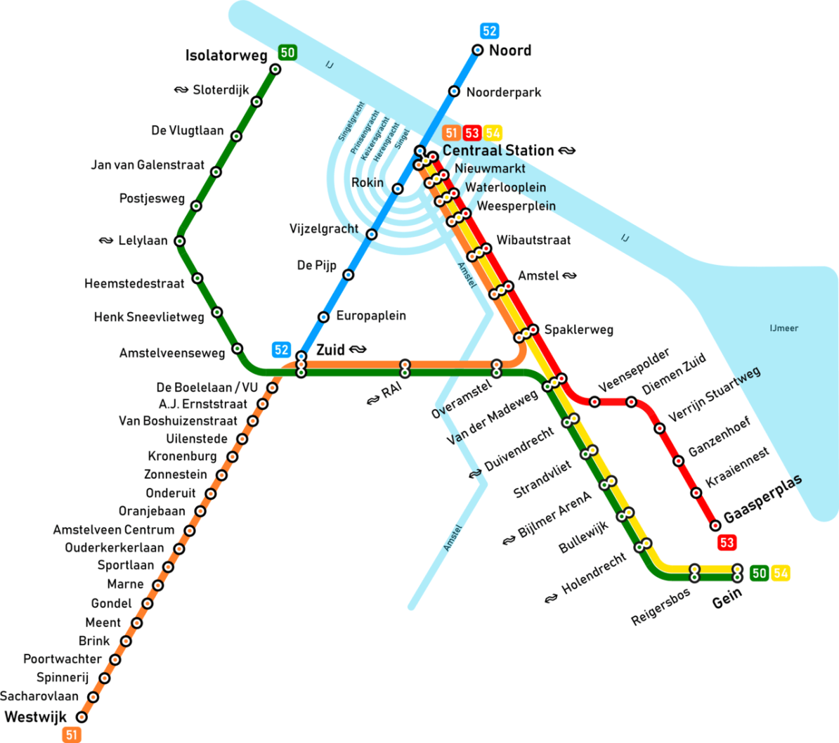 Amsterdam Subway Map.Transit Maps Submission Unofficial Map Amsterdam Metro Maps By