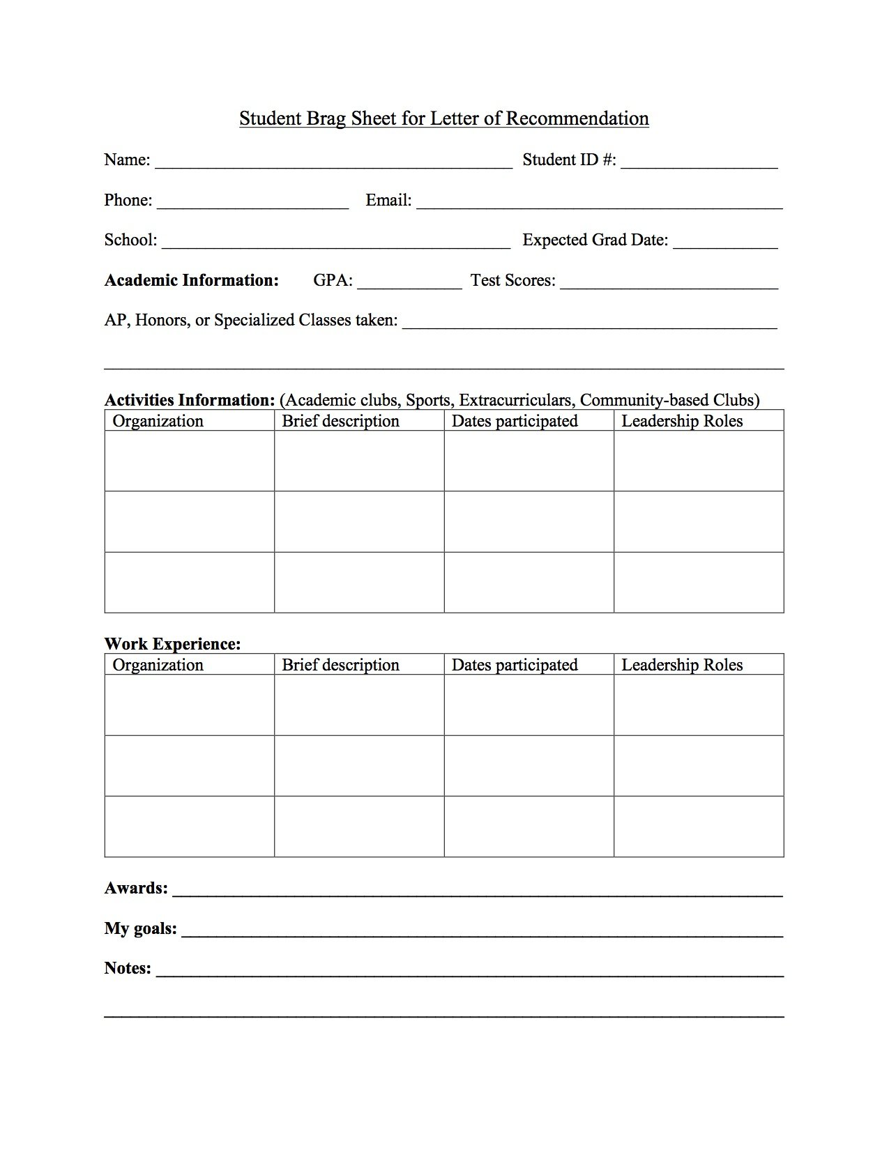 Brag Sheet Everything Students Need To Know Template