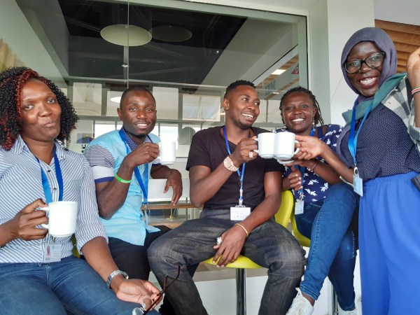 Cédrick Irakoze and friends at the YALI network meetup in Nairobi.