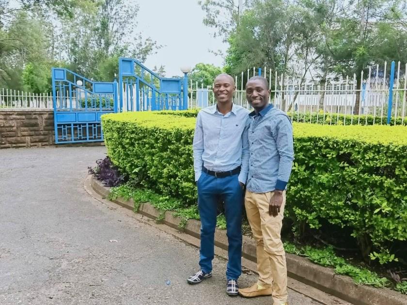 Cédrick Irakoze, right, with TWB Kenya Manager Paul Warambo, left.