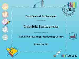 Taus Post-Editing Gabriela Janiszewska