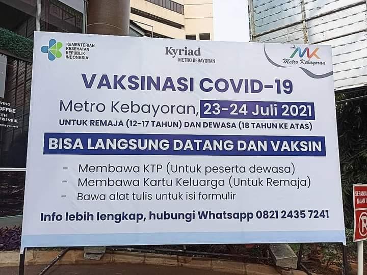 Target Vaksinasi di Sentra Vaksin Metro Kebayoran 1.000 orang, Selama Dua Hari