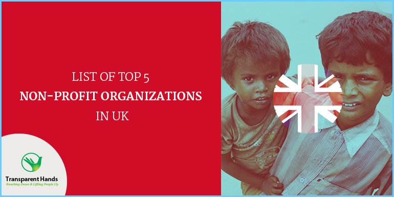 list of top 5 non-profit organizations in UK