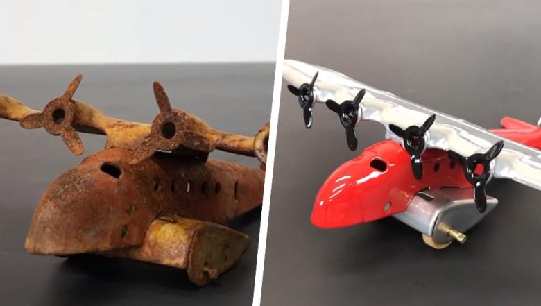 Es este video podemos ver el proceso de restauración de este avión de hojalata, no podrás creer el resultado.