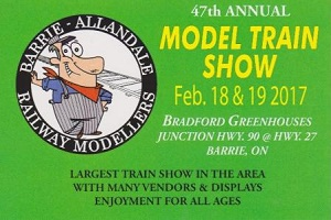 UPCOMING EVENT: Barrie-Allandale Model Train Show