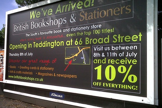 Transport Media - British Bookshops - Rail & Tram Billboard