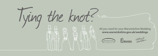 Wedding party outlined in string with the words 'Tying the Knot' above it.