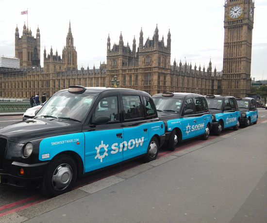 Taxi advertising campaign for Snow Software from Transport Media
