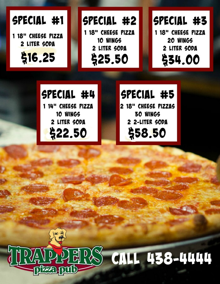 Trappers Pizza Specials