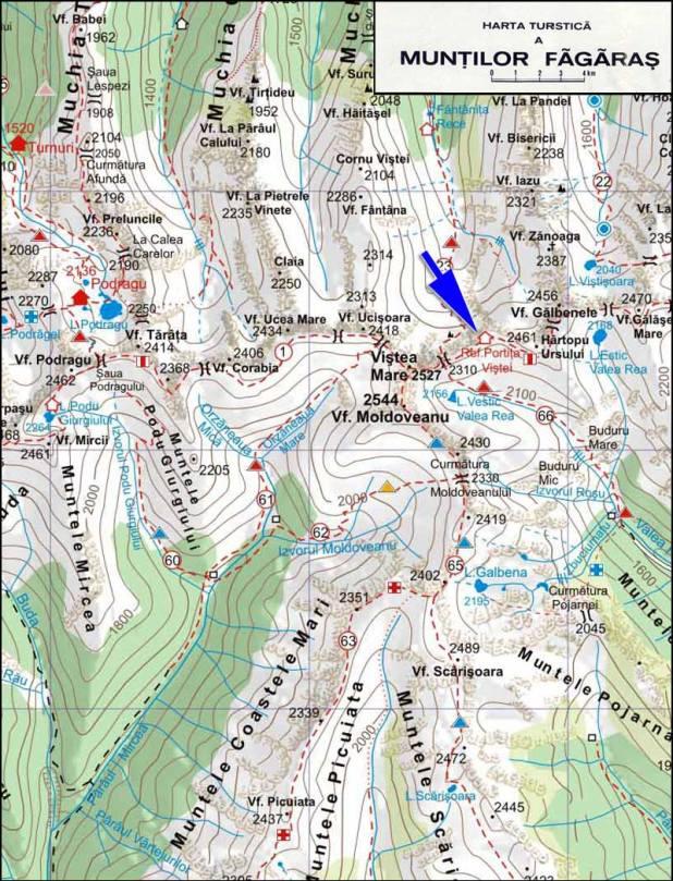 Harta refugiul Alpin Vistea Mare