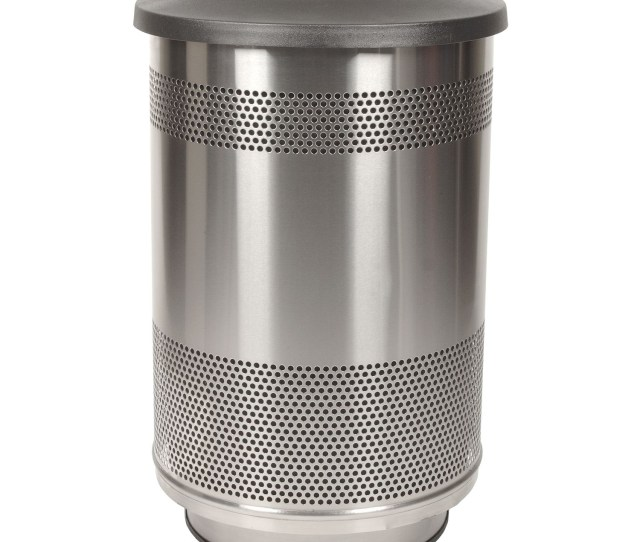55 Gallon Perforated Steel Garbage Can W Flat Top In Stainless Steel Trash Cans Warehouse
