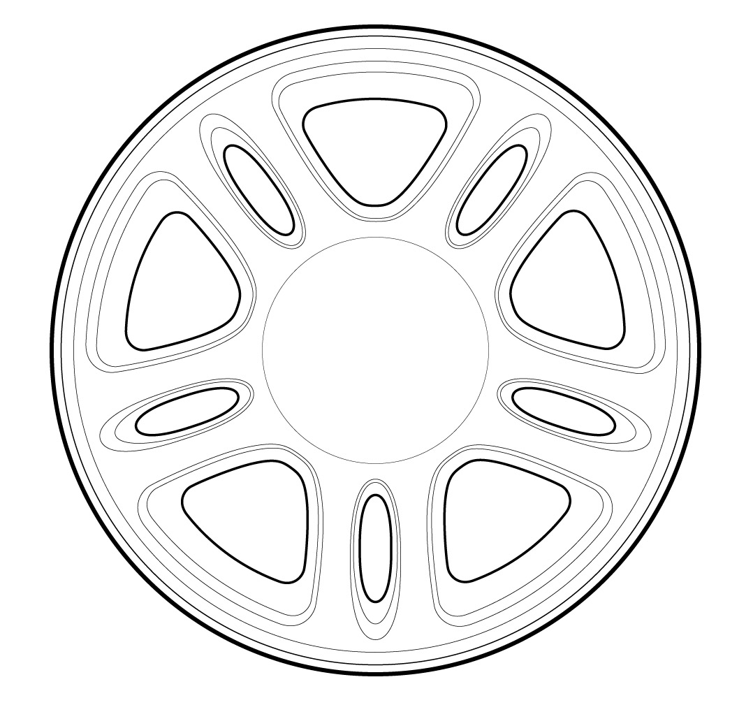 Vector Line Drawing Of A Ford Mustang Gt Wheel