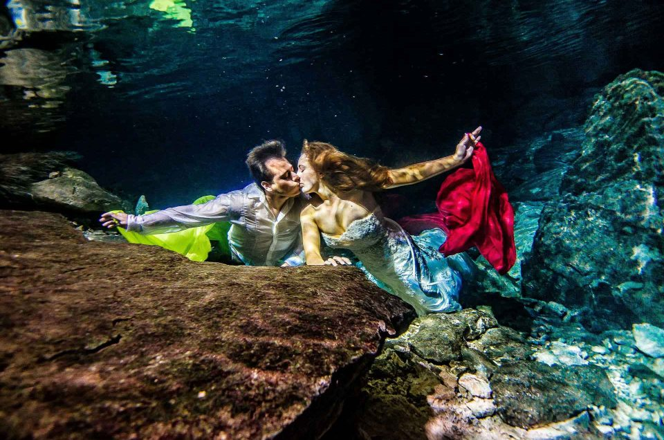 Post Wedding photos in Mexico – Underwater Trash The Dress in a Mexican cenote - Heather and Carlos